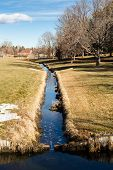 stock photo of suburban city  - Typical suburban American park in late January - JPG