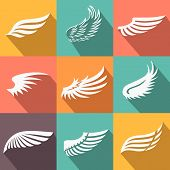 picture of feathers  - Abstract feather angel or bird wings icons set flat style long shadow isolated vector illustration - JPG