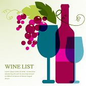 picture of alcoholic beverage  - Wine bottle glass branch of grape with leaves - JPG