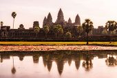 pic of reflection  - Angkor Wats temple reflection on the Reflecting Pond near Angkor Wats - JPG