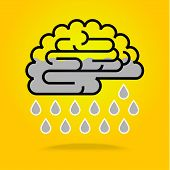 pic of brainwashing  - Drops falling from brain cloud on yellow background - JPG