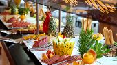 stock photo of all-inclusive  - Buffet Catering Food Arrangement on Table.