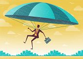 pic of parachute  - Great illustration of Retro styled Businessman who - JPG