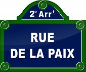 stock photo of rest-in-peace  - french translation for street peace blue sign - JPG