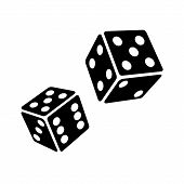 stock photo of dice  - Two Black Dice Cubes on White Background - JPG
