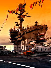 stock photo of awacs  - On deck of USS John F. Kennedy  - JPG