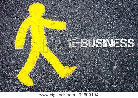 Yellow Pedestrian Figure Walking Towards E-business