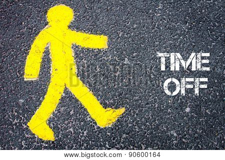 Yellow Pedestrian Figure Walking Towards Time Off