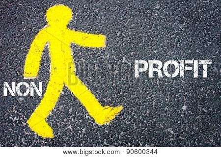 Yellow Pedestrian Figure Walking Towards Profit