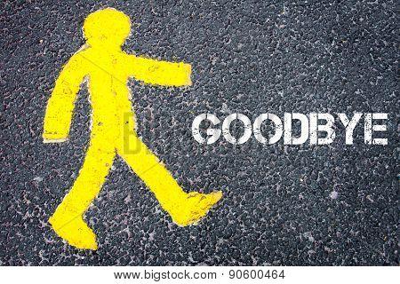 Yellow Pedestrian Figure Walking Towards Goodbye