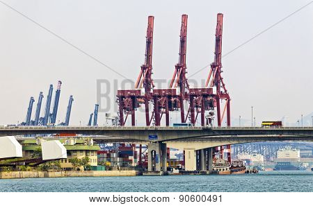 Containers at Hong Kong commercial port at day