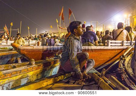 Night View Of Varanasi From The Gange River, India.