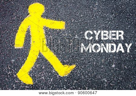 Yellow Pedestrian Figure Walking Towards Cyber Monday