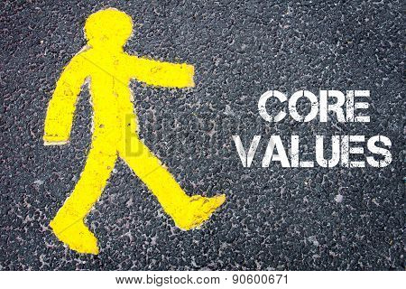 Yellow Pedestrian Figure Walking Towards Core Values