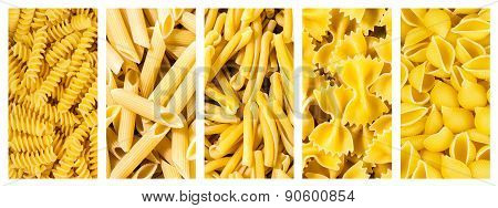 Set Of Collection Italian Pasta, Background Texture