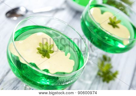 Woodruff Jelly With Vanilla Sauce