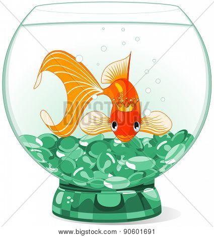 Illustration of a happy beautiful goldfish with tiara in the aquarium