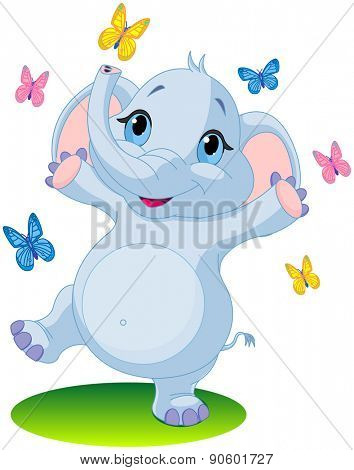 Very cute baby elephant dancing with butterflies on the meadow