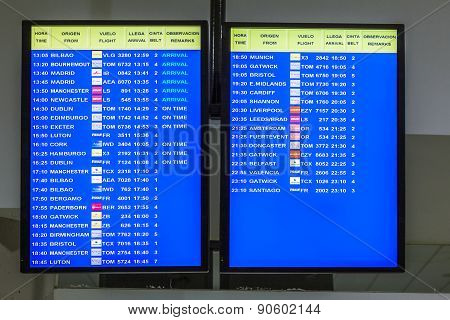 Arrecife International Airport Departures Board