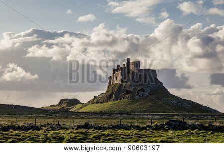 Lindisfaren Castle, Holy Island, Northumberland, England.