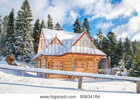 Mountain hut with closed windows, Turbacz, Poland