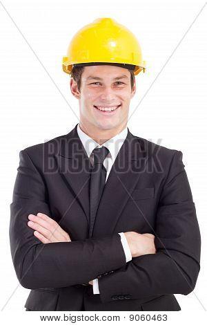 businessman wearing hard hat