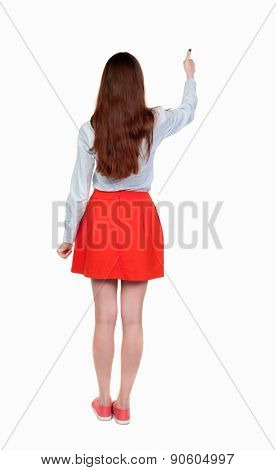 Back view of  woman thumbs up. Rear view people collection. backside view of person. Isolated over white background.  thin blonde raised her hand with joy.