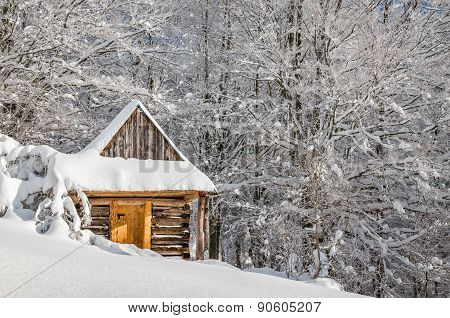 Quiet mountain cabin in winter