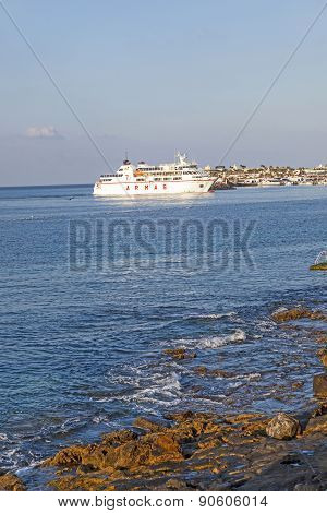 Ferry Volcan De Timanfaya Armas Heads To The Harbor Of Playa Blanca