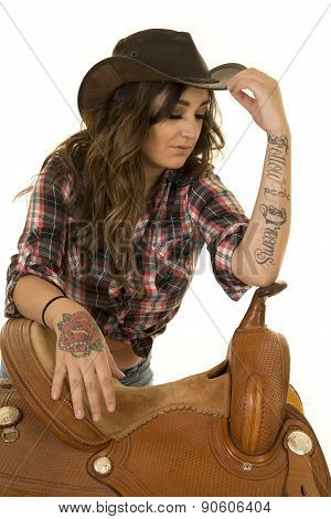 Cowgirl Rose Tattoo On Hand Saddle Hand On Hat