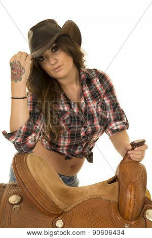 Cowgirl Rose Tattoo On Hand Saddle Looking