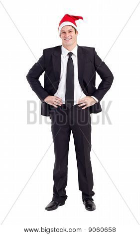 happy businessman wearing christmas hat