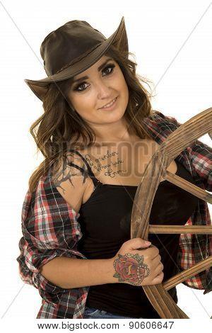 Cowgirl With Tattoos Wagon Wheel Look Tilt Head