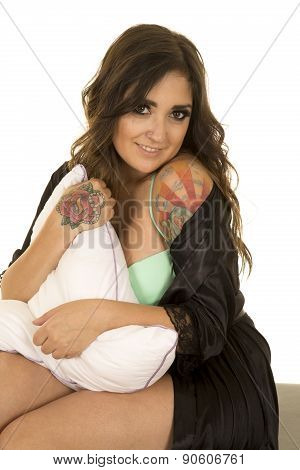 Woman In Black Nightgown With Tattoo Holding Pillow