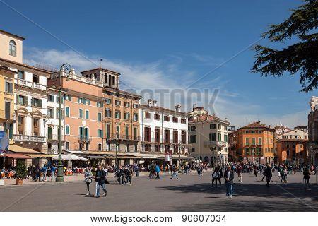 Piazza Bra In Verona, Italy
