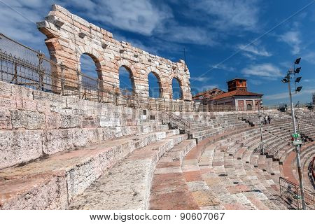 Fragment Of The Original Outer Perimeter Three Stories Wall Of Verona's Roman Amphitheatre