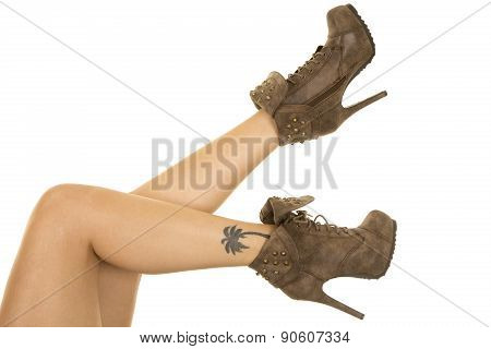 Woman Legs Tattoo Brown Shoes
