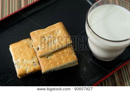 Cracker With Glass Of Milk On A Plate