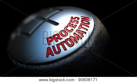 Process Automation on Gear Stick with Red Text .