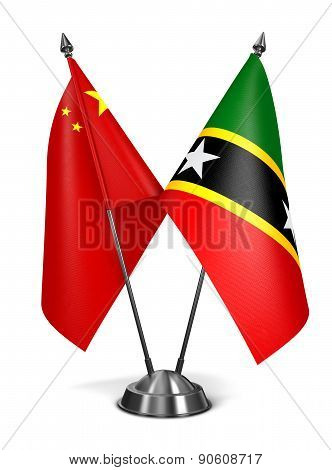 China, Saint Kitts and Nevis - Miniature Flags.
