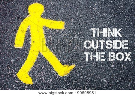 Pedestrian Figure Walking Towards Think Outside The Box
