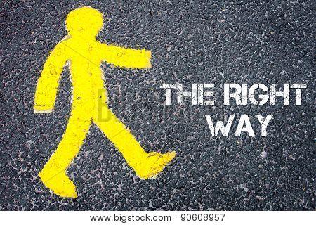 Yellow Pedestrian Figure Walking Towards The Right Way