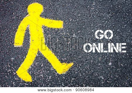 Yellow Pedestrian Figure Walking Towards Go Online