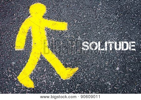 Yellow Pedestrian Figure Walking Towards Solitude