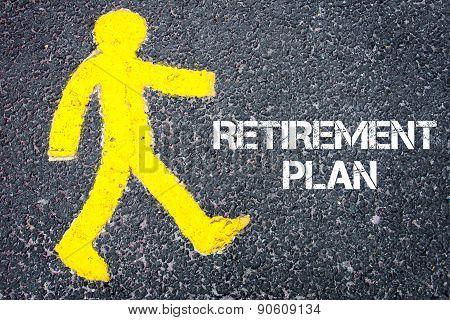 Yellow Pedestrian Figure Walking Towards Retirement Plan