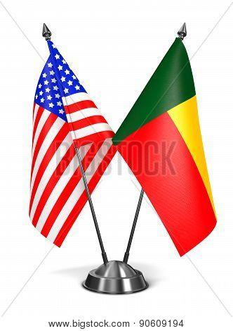 USA and Benin - Miniature Flags.