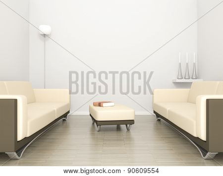 3D rendering of a room with sofa and space for your content