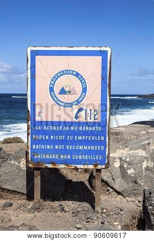 Warning Sign At The Black Beach Of Janubio