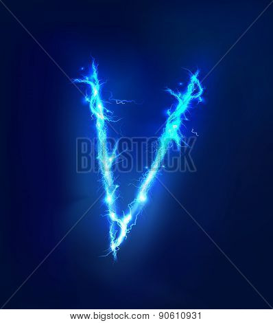 Alphabet made of blue electric lighting, thunder storm effect. ABC
