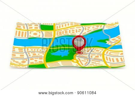 Navigation chart on white background. Isolated 3D image